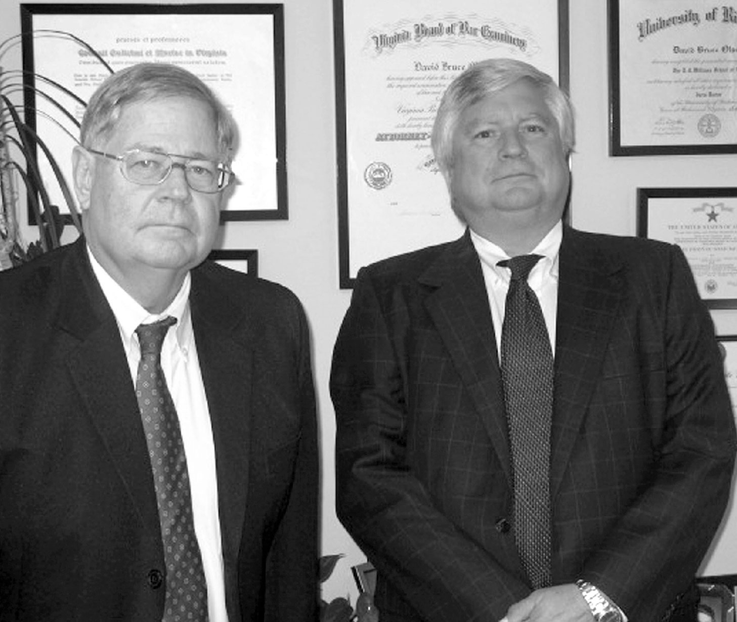 David Olson and Johnny Cope of Cope and Olson Law Firm, clipping from the Daily Press.